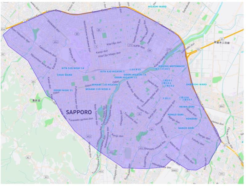 札幌市エリアの範囲の地図画像