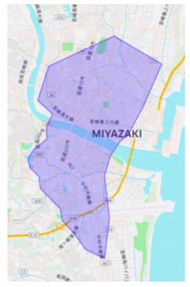 宮崎市エリアの範囲の地図画像
