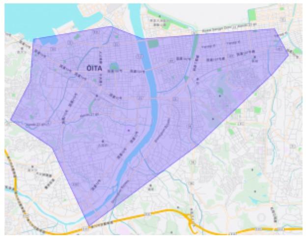大分市エリアの範囲の地図画像