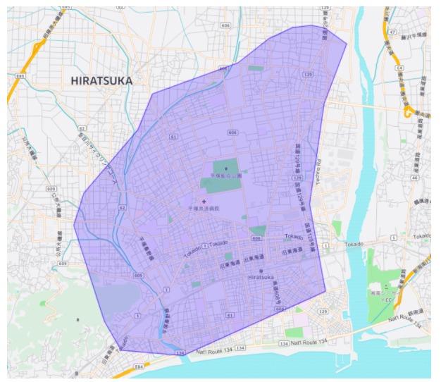 横須賀市エリアの範囲の地図画像