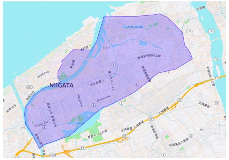 新潟市エリアの範囲の地図画像