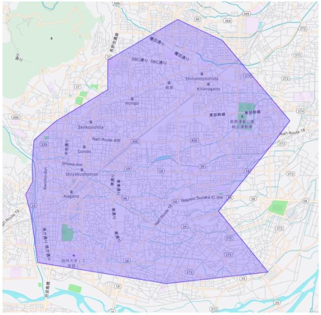 長野市エリアの範囲の地図画像