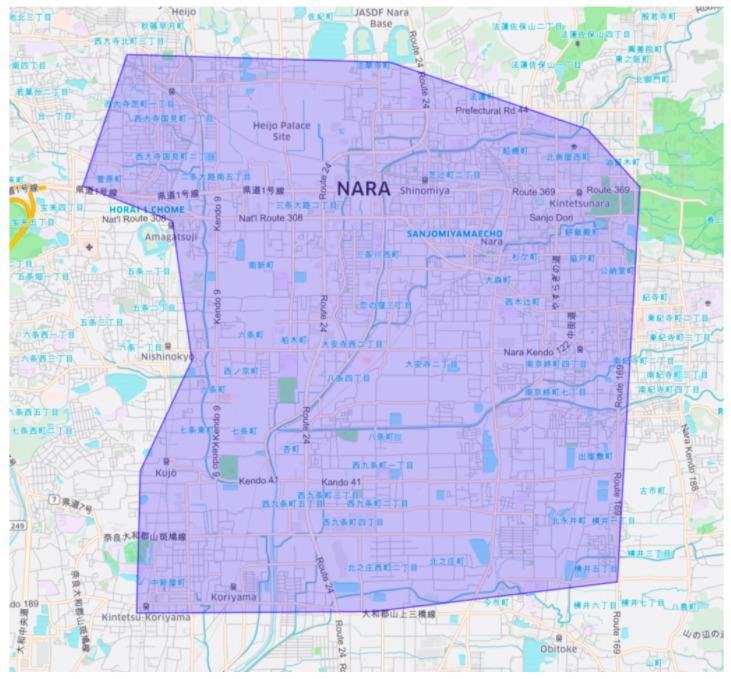 奈良市エリアの範囲の地図画像