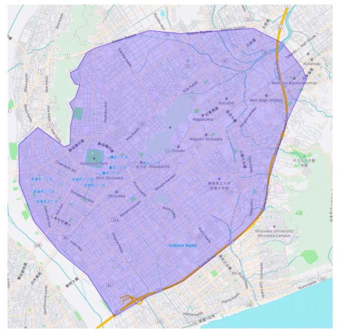 静岡市駿河区・葵区エリアの範囲の地図画像