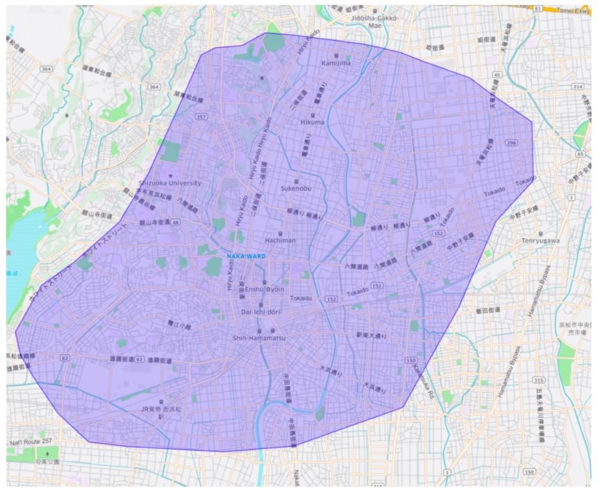 浜松市中区エリアの範囲の地図画像