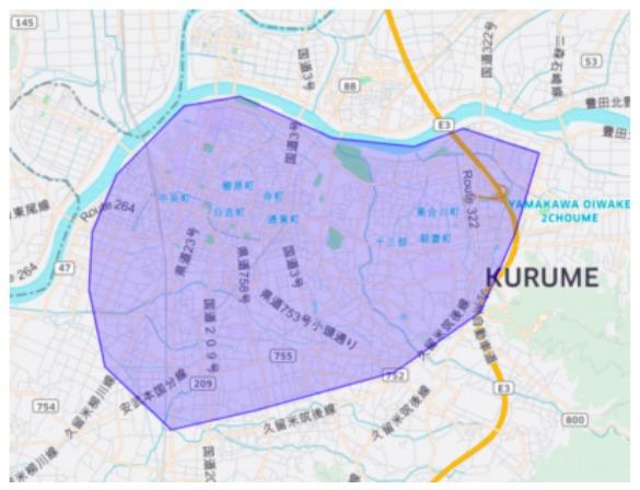 久留米市エリアの範囲の地図画像