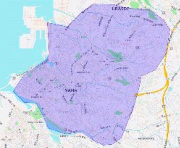 沖縄県那覇市エリアの範囲の地図画像