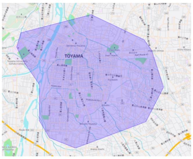 富山市エリアの範囲の地図画像