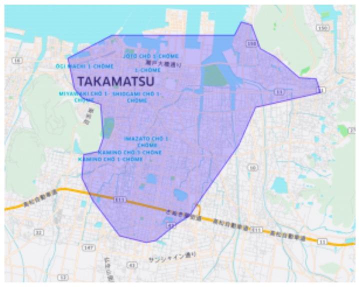 高松市エリアの範囲の地図画像