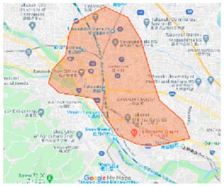 群馬県高崎市エリアの範囲の地図画像