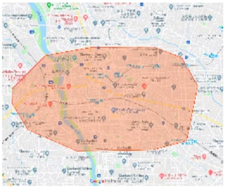群馬県前橋市エリアの範囲の地図画像