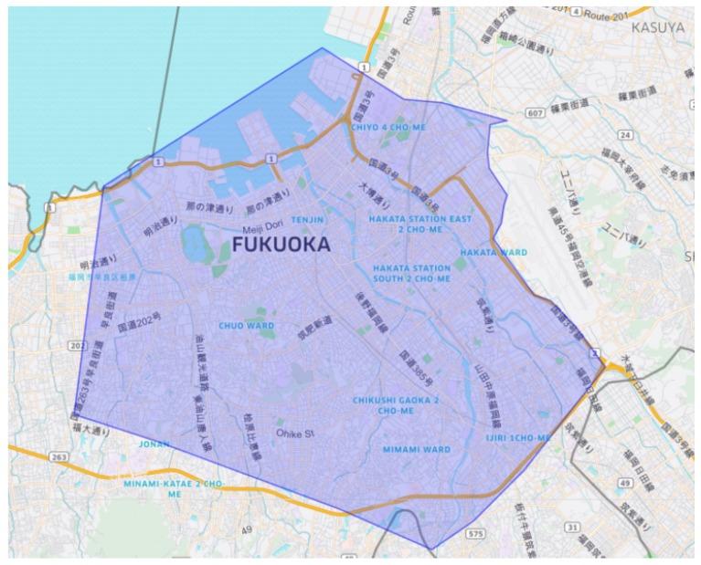福岡市エリアの範囲の地図画像