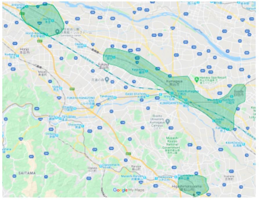 熊谷市エリアの範囲の地図画像
