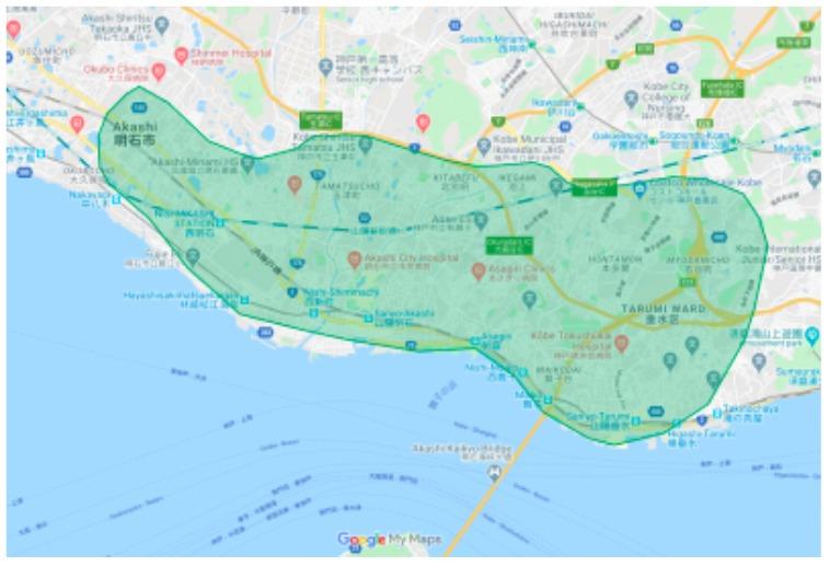 明石市エリアの範囲の地図画像