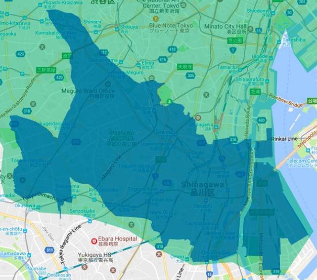 品川区エリアの範囲の地図画像
