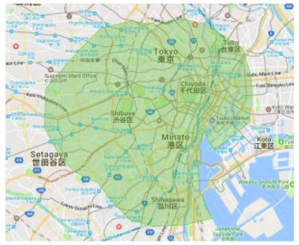 渋谷区エリアの範囲の地図画像
