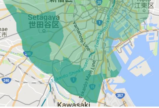 大田区エリアの範囲の地図画像