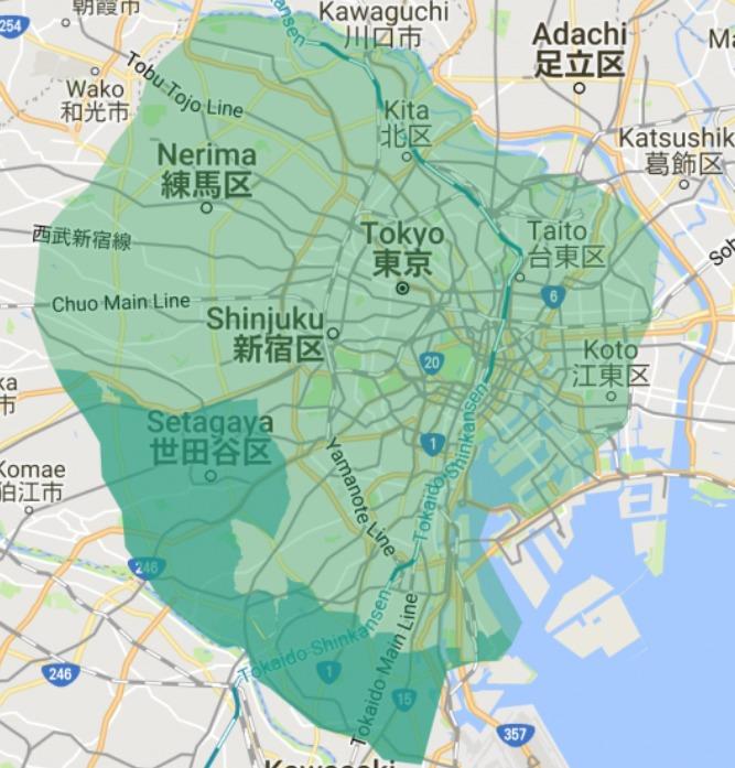 板橋区エリアの範囲の地図画像