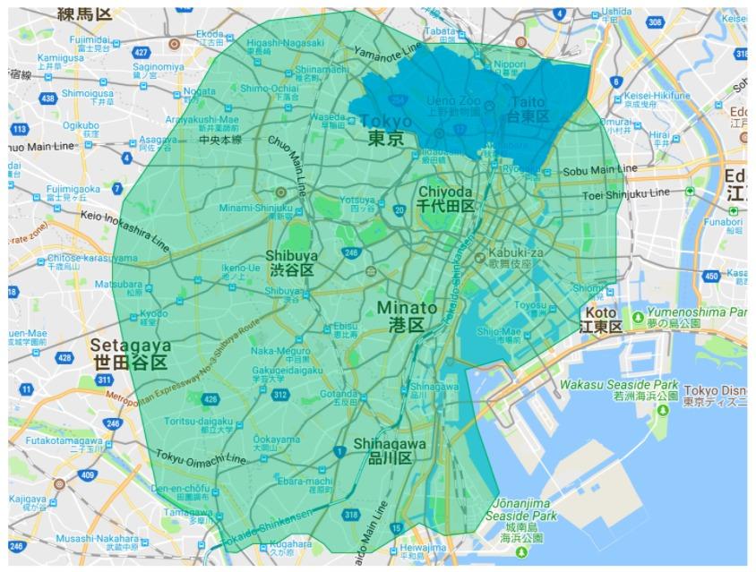 文京区エリアの範囲の地図画像