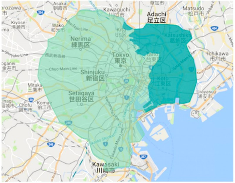 江戸川区エリアの範囲の地図画像