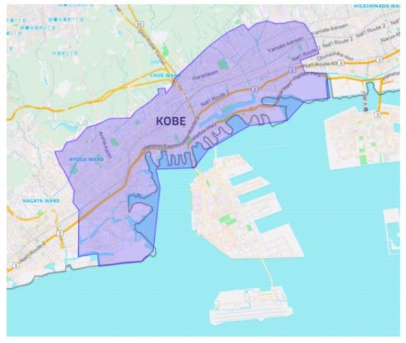 神戸市エリアの範囲の地図画像