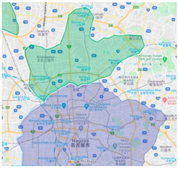 小牧市エリアの範囲の地図画像