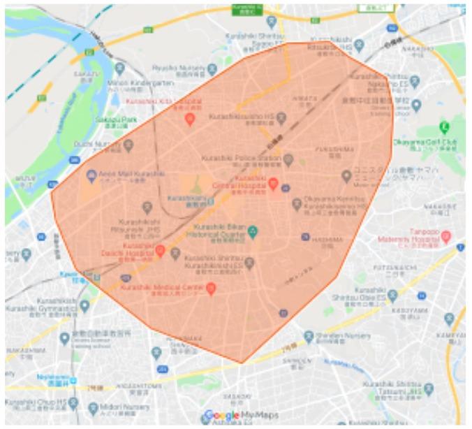 岡山県倉敷市エリアの範囲の地図画像