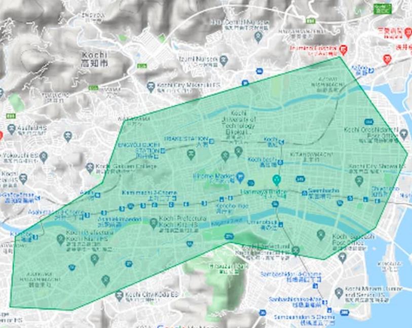 高知県高知市エリアの範囲の地図画像