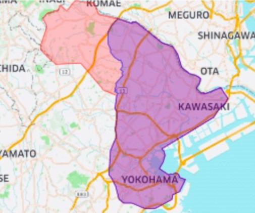 麻生区エリアの範囲の地図画像
