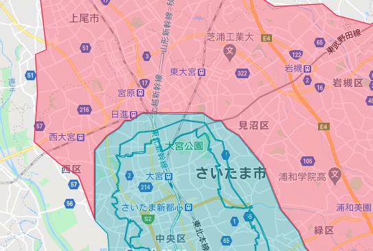 大宮区エリアの範囲の地図画像