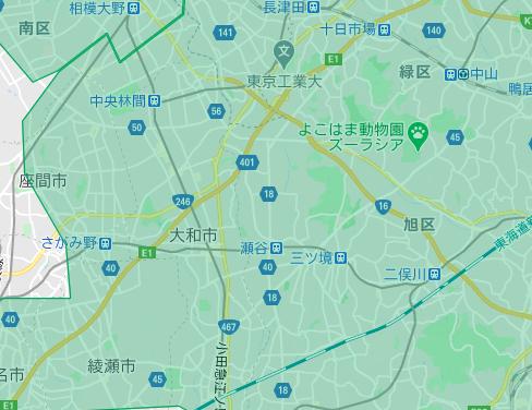 大和市エリアの範囲の地図画像