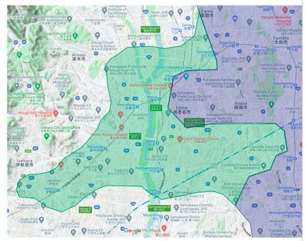 厚木市エリアの範囲の地図画像