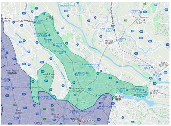 野田市エリアの範囲の地図画像