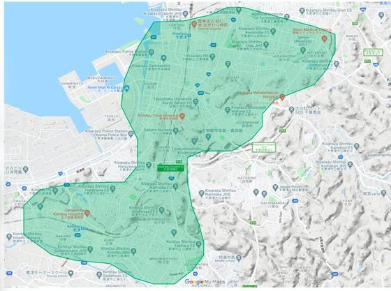 木更津市エリアの範囲の地図画像