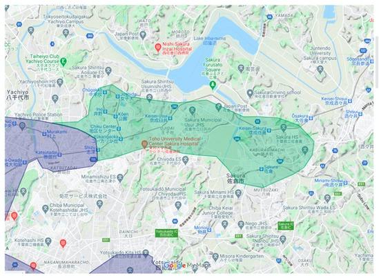 佐倉市エリアの範囲の地図画像