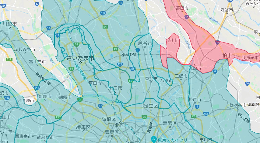 八潮市エリアの範囲の地図画像