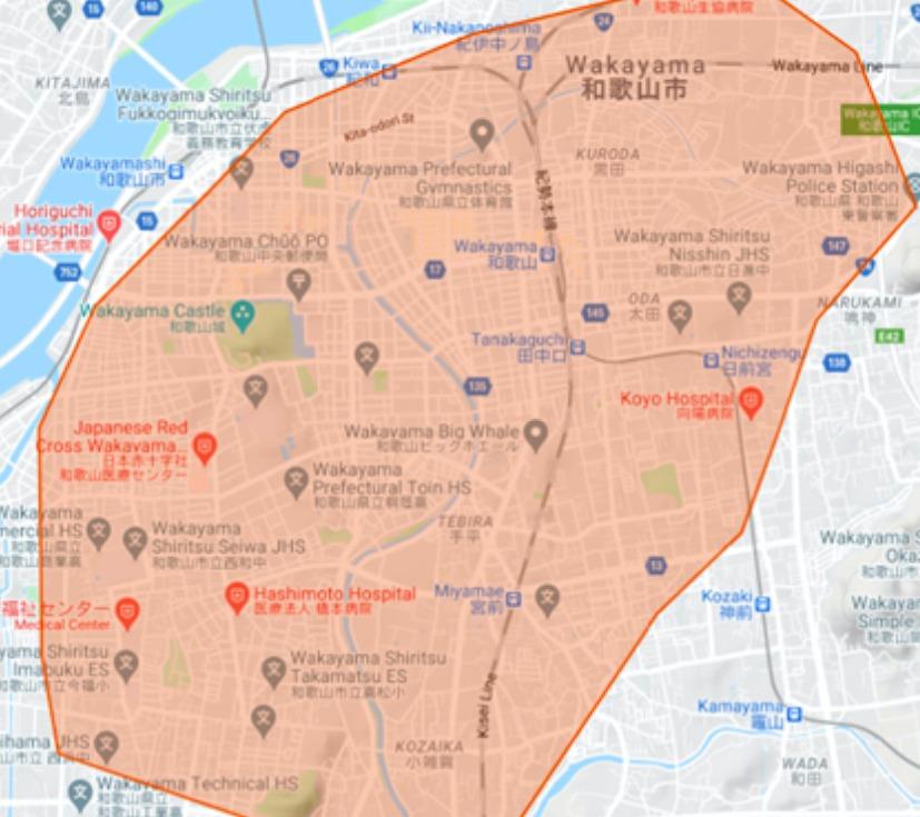 和歌山市エリアの範囲の地図画像