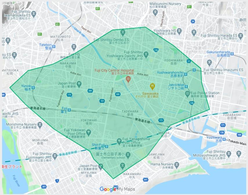 富士市エリアの範囲の地図画像