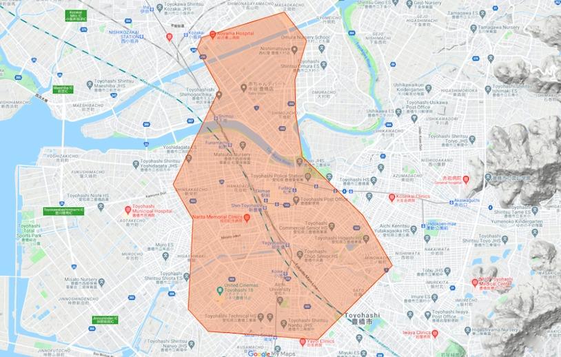 豊橋市エリアの範囲の地図画像