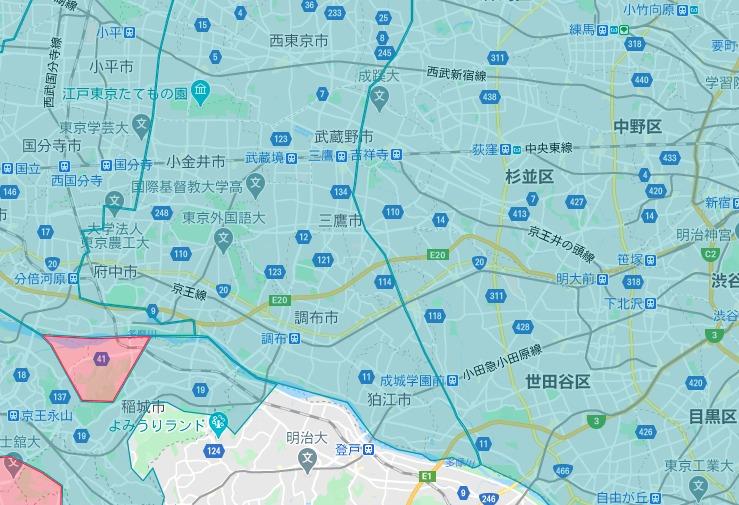 三鷹市エリアの範囲の地図画像