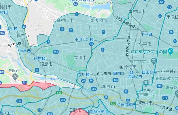 立川市エリアの範囲の地図画像