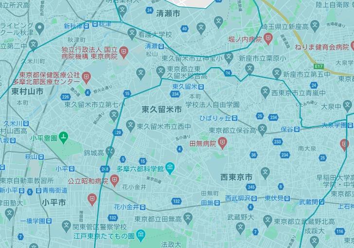 東久留米市エリアの範囲の地図画像