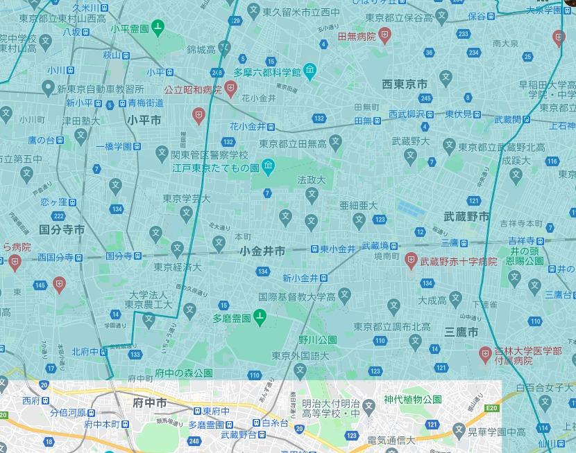 小金井市エリアの範囲の地図画像