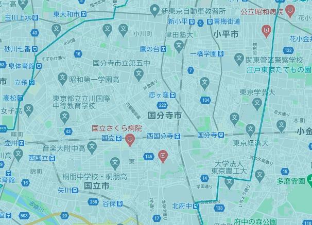国分寺市エリアの範囲の地図画像