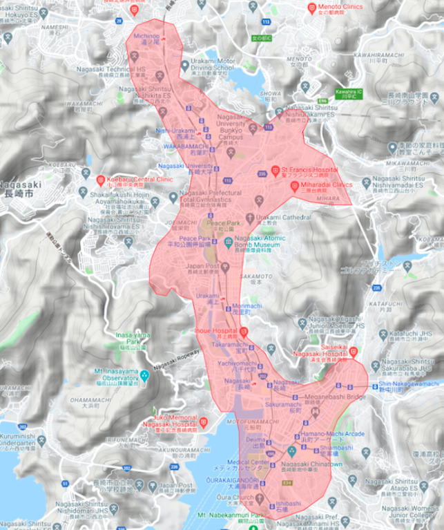 長崎市エリアの範囲の地図画像