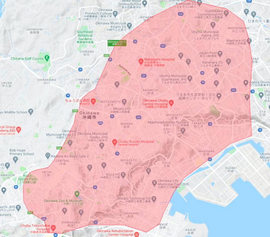 沖縄市エリアの範囲の地図画像