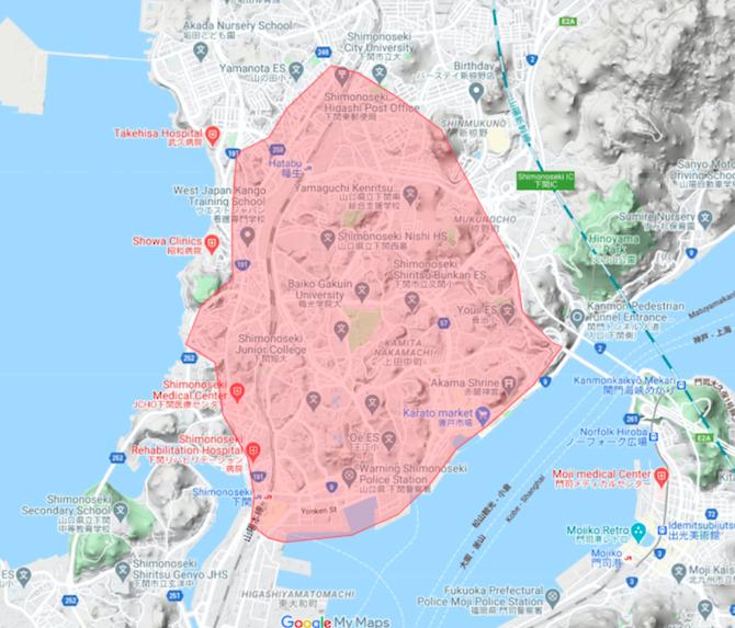 下関市エリアの範囲の地図画像