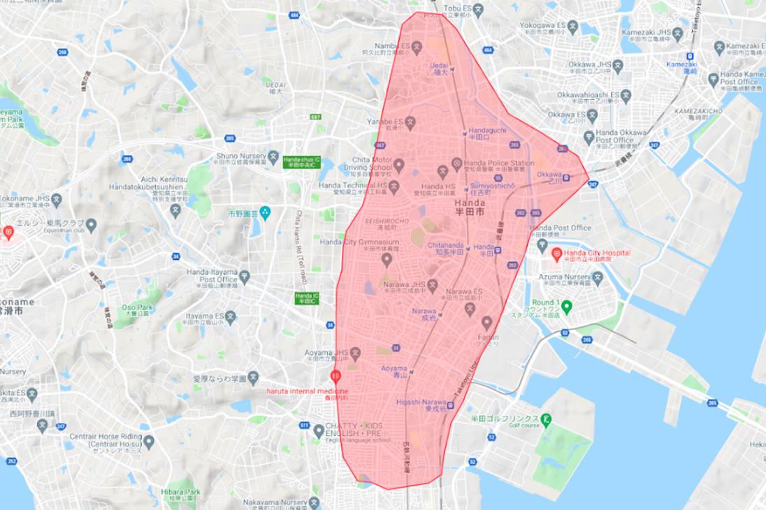 武豊町エリアの範囲の地図画像