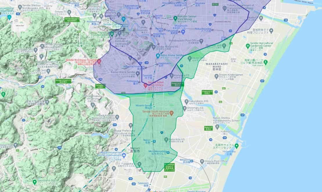 名取市エリアの範囲の地図画像